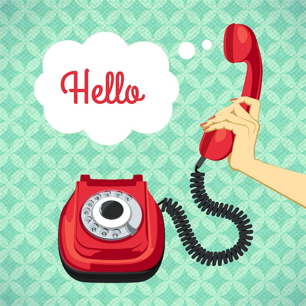 Hand holding old telephone retro poster vector\ illustration