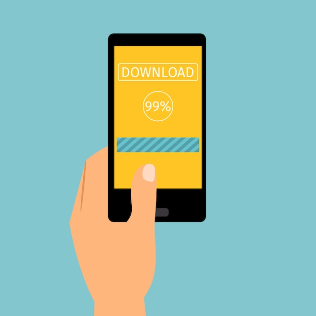 Hand holding phone downloading application Premium Vector
