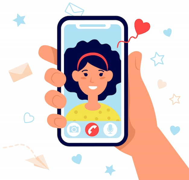 Hand holding phone isolated flat vector illustration Free Vector