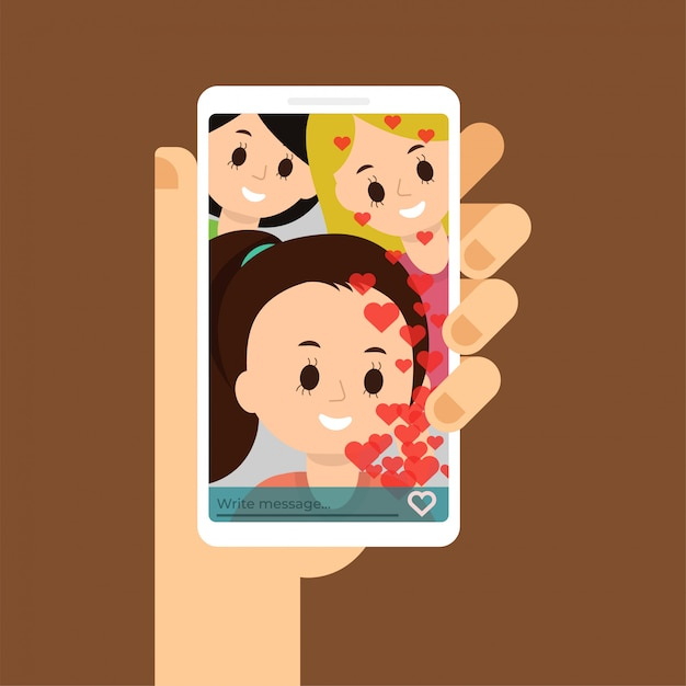 Hand holding phone, talking with people, looking at the screen. Premium Vector