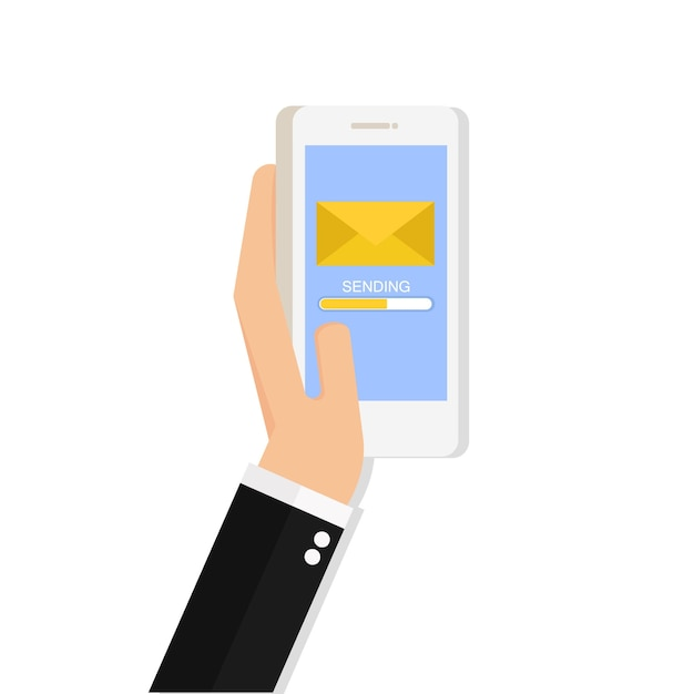 Hand holding phone with closed envelope and progress bar on the screen Premium Vector