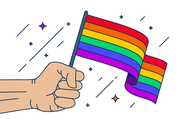 Hand holding pride day flag Free Vector