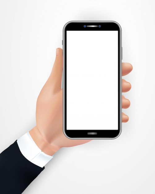 Hand holding realistic black smartphone with blank screen isolated on white background. Premium Vector