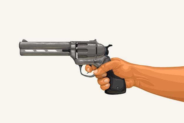 Hand holding revolver on white Premium Vector