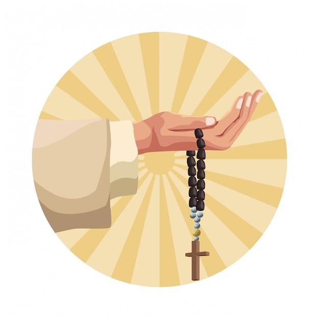 Hand holding rosary Premium Vector