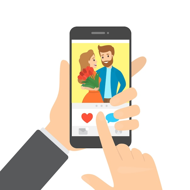 Hand holding smartphone and likes photo in the app pushing the heart button. idea of social network.    illustration Premium Vector
