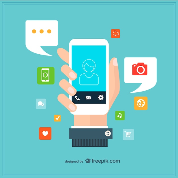 Hand holding a smartphone surrounded by apps Free Vector