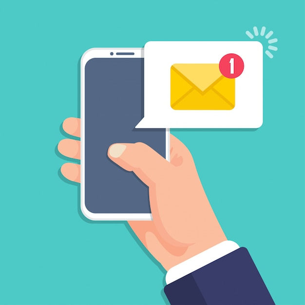 Hand holding smartphone with email message notification in a flat design Premium Vector