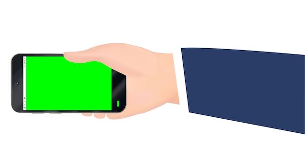 손을 잡고 녹색 화면 벡터와 스마트 폰 프리미엄 벡터