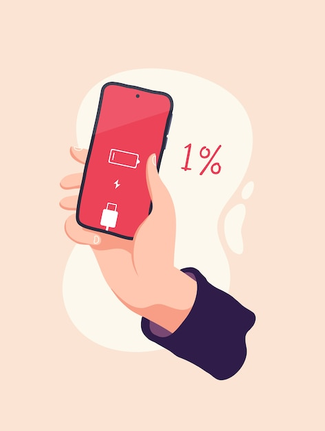 premium vector hand holding a smartphone with a low battery vector illustration https www freepik com profile preagreement getstarted 9376961