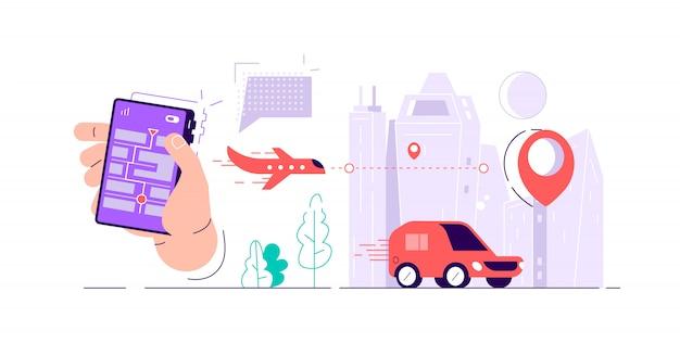 画面上の地図、さまざまな種類の交通機関や場所のマークを持つスマートフォンを持っている手。注文配達オンライン追跡。フラットな漫画のスタイルのカラフルなベクトルイラスト。 Premiumベクター