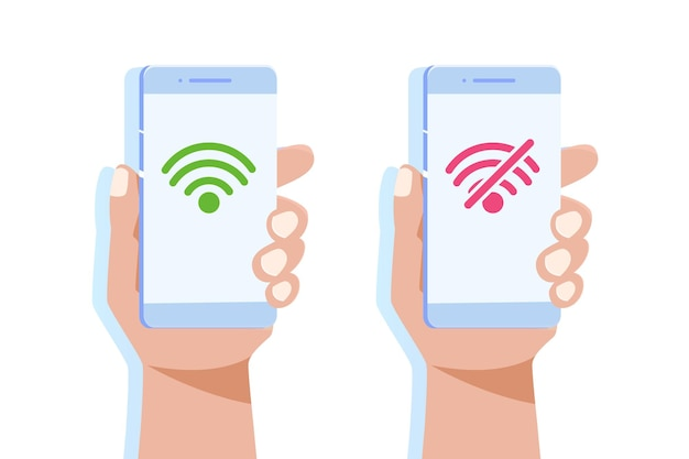Рука, держащая смартфон без знака wi-fi и хорошее соединение wi-fi. Premium векторы