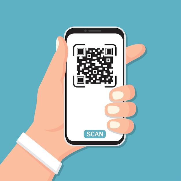 フラットなデザインでqrコード付きのスマートフォンを持っている手 Premiumベクター