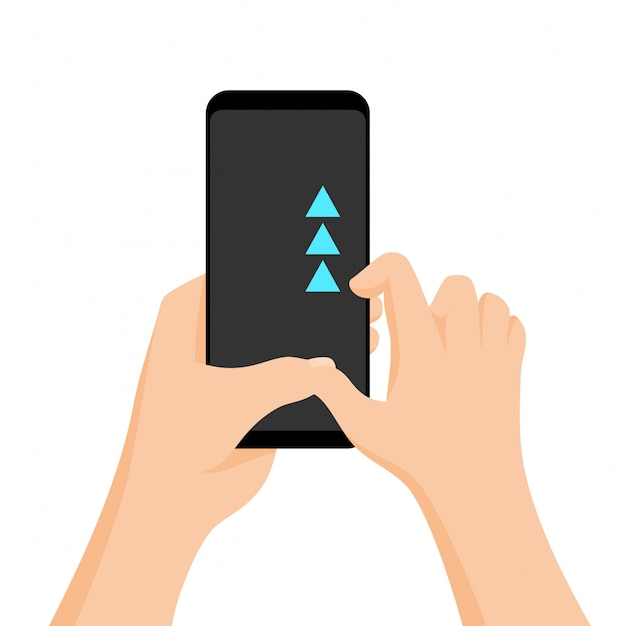 Hand holding smartphone with quick tutorial on the screen. touch screen gesture. Premium Vector