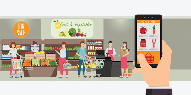 Hand holding smartphone with shopping app. Premium Vector