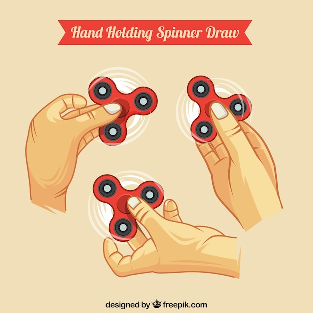 Hand holding spinners collection Free Vector