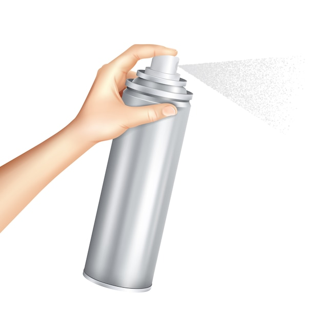 Hand holding spray can realistic Free Vector