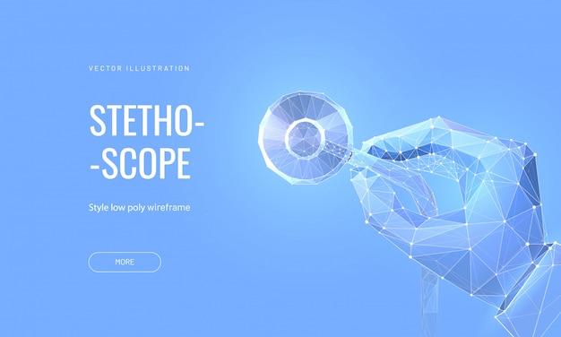 Рука держа стетоскоп. концепция медицинского осмотра или проверки организма. Premium векторы