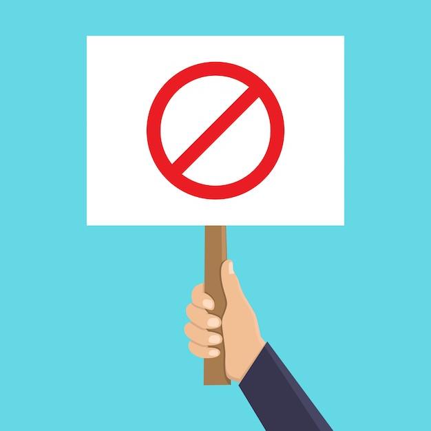 Hand holding stop sign flat illustration Premium Vector