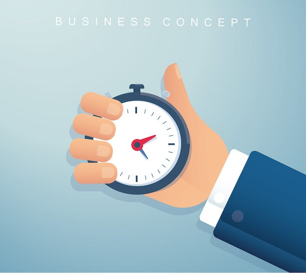 Hand holding a stopwatch timer time management Premium Vector