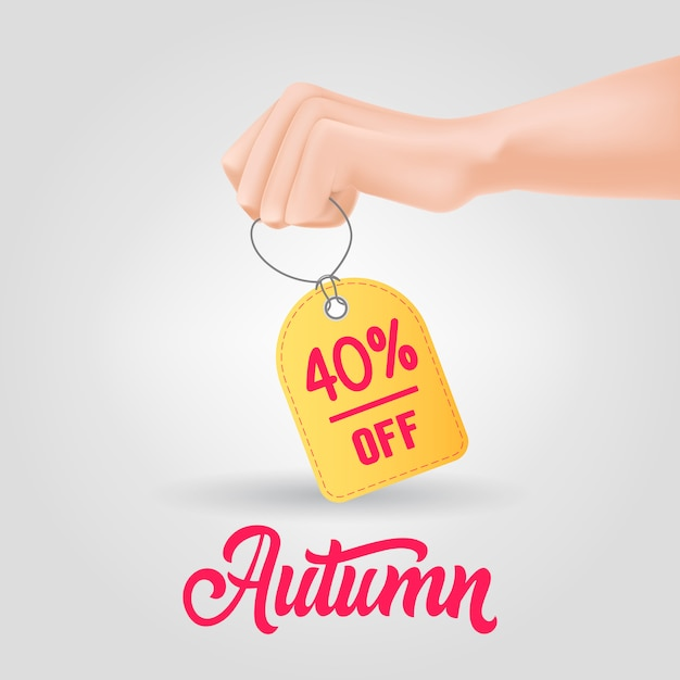 Hand holding tag with autumn, forty percent off lettering Free Vector