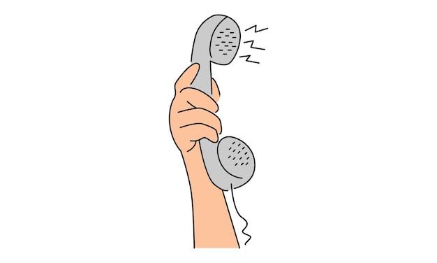 손을 잡고 오래 된 전화 프리미엄 벡터