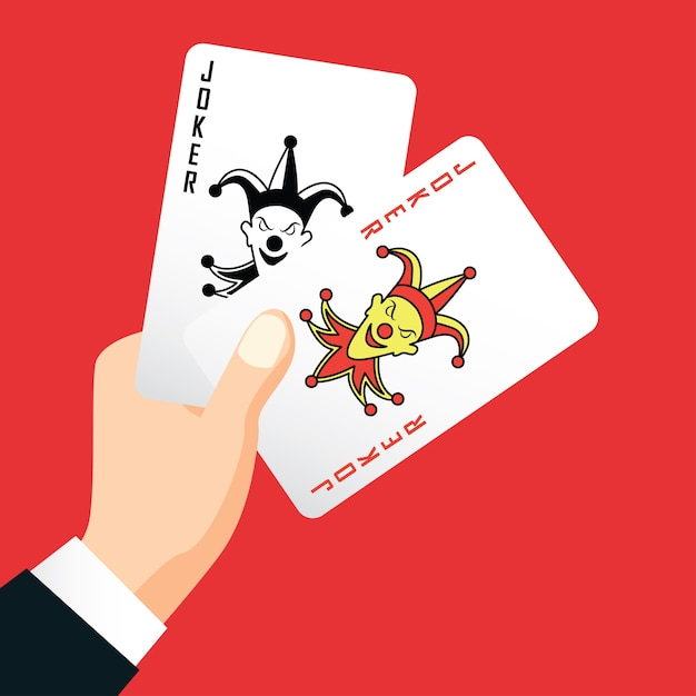 Hand holding two joker, poker playing card concept Premium Vector