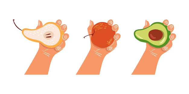 Hand holds a fruit on an isolated background. healthy breakfast. proper nutrition, vegan. eco-product. Premium Vector