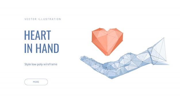 Рука держит сердце. концепция поддержки, надежды, заботы, любви, здоровья Premium векторы