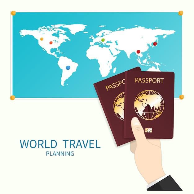 Hand holds passport world map Premium Vector