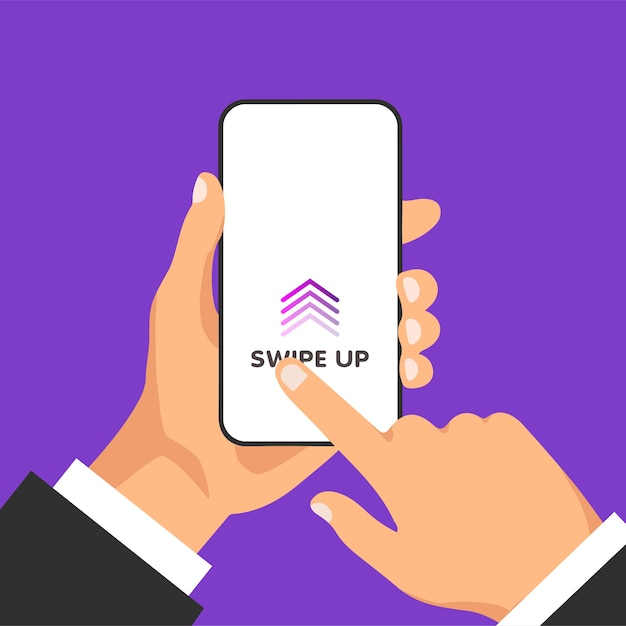 Hand holds phone with quick access button for social media on a screen. scroll arrows and web icons for advertising and marketing in different apps. man swipes up on the smartphone display. Premium Vector