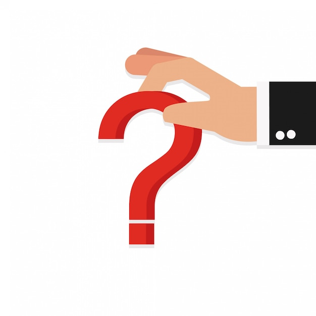 Hand holds a question mark multicolored Premium Vector