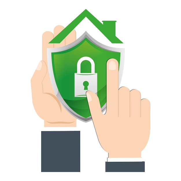 Hand holds shield home security Premium Vector