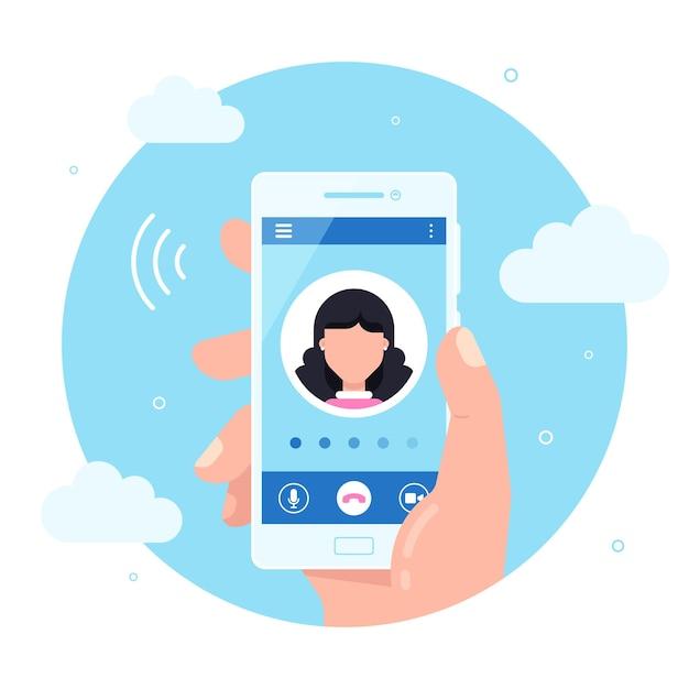 손은 화면에 발신 전화와 스마트 폰을 보유하고 있습니다. 서비스 개념을 호출합니다. 프리미엄 벡터