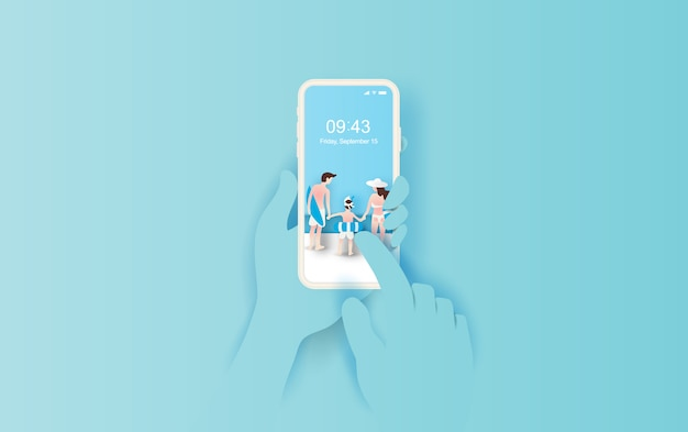 Hand holds smartphone with summertime Premium Vector
