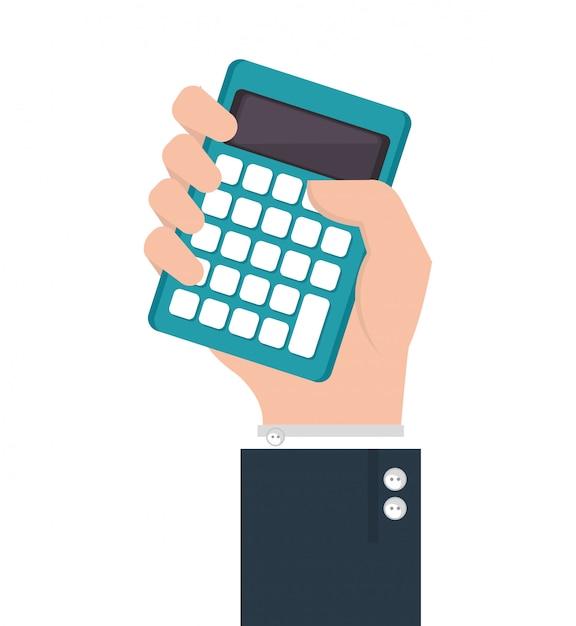 Рука человека с калькулятором Бесплатные векторы