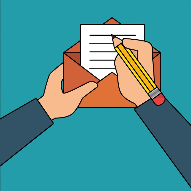 Hand human with envelope Free Vector