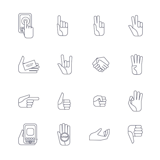 Hand icons set line contour Free Vector