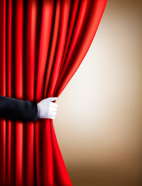 カーテンを引っ張って白い手袋をはめてください。劇場。 Premiumベクター