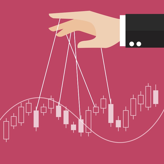 Hand is controlling stock candle stick graph Premium Vector