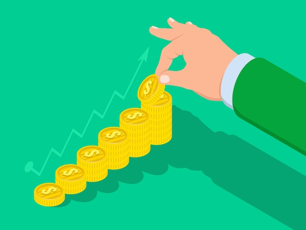 手は金貨のはしごを上げ、ビジネス成功の概念 Premiumベクター