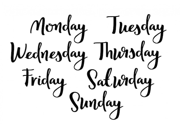 Hand lettering days of week. Premium Vector