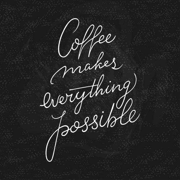 コーヒーショップやカフェのスケッチで引用をレタリングの手。 Premiumベクター