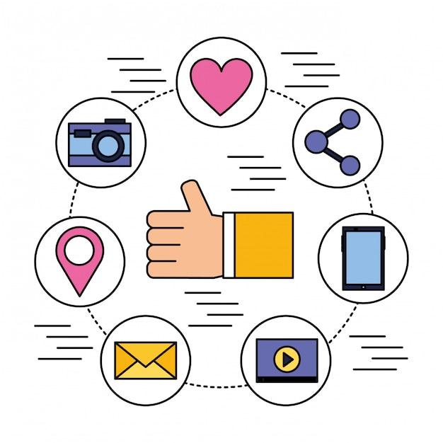Hand like mobile share camera email social media Premium Vector