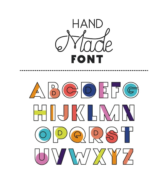 Hand made font alphabet Premium Vector