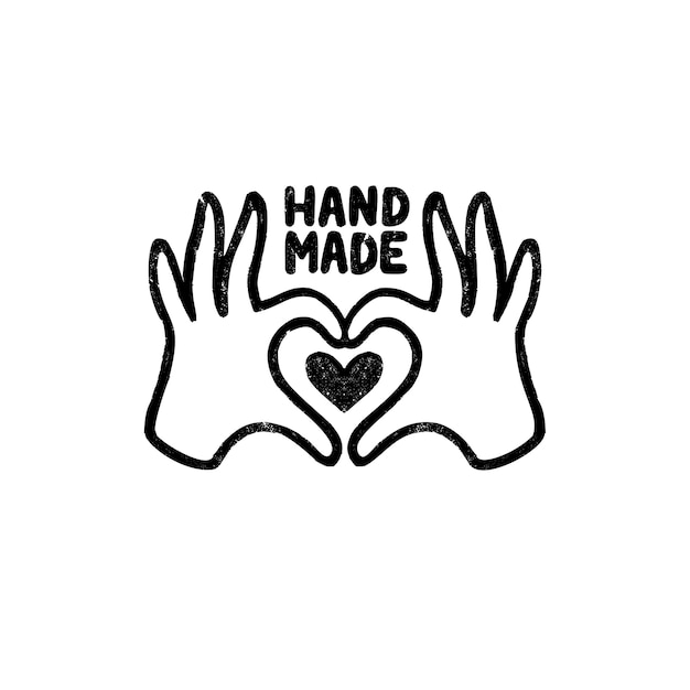 Hand made icon or logo. vintage stamp icon with hands and heart image and handmade lettering. vintage  illustration for banner and label Premium Vector