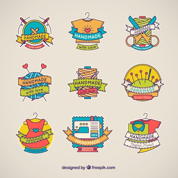 Hand made logos with hand drawn style Free Vector