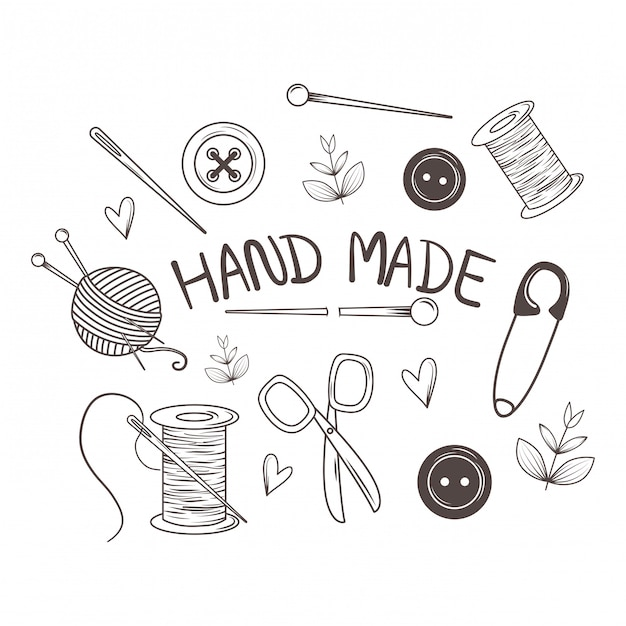 Hand made sewing set icons Premium Vector