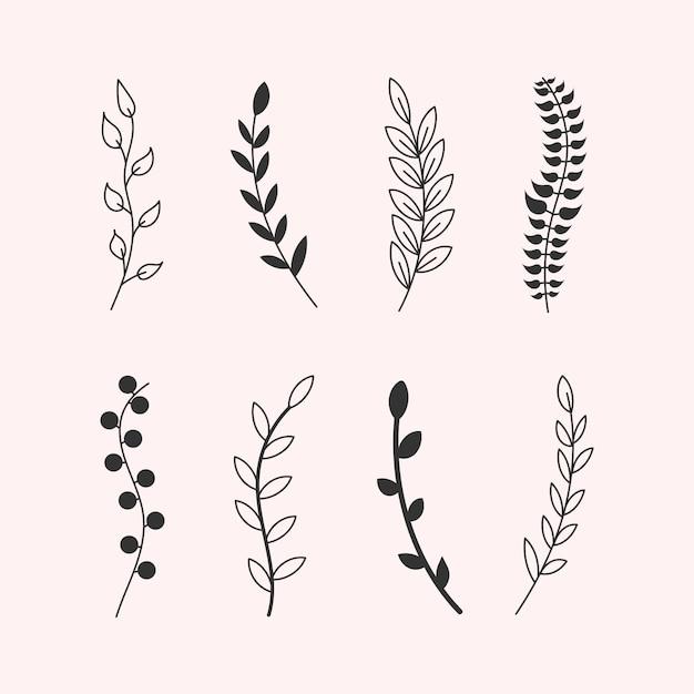 ヴィンテージの要素の葉、花、まんじ、羽の手作りスケッチ。パターンの木の枝、ユーカリの木、ヤシの葉、草のセット。ペンブラシで描かれた色付きの要素。図 Premiumベクター