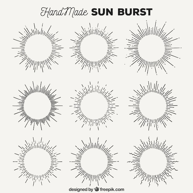 Hand made sun burst collection Free Vector